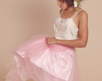 2-pc Pink Tulle slip and Top (Floral crown sold separately)
