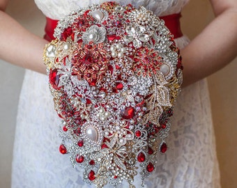 Cascading Brooch bouquet. Red and Gold vintage wedding brooch bouquet, Jeweled Bouquet