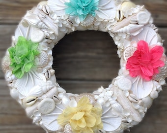 Easter Wreath Gift, Spring Wreath, Shell Wreath, Colorful Wreath, Beach House Decor, Gifts for her