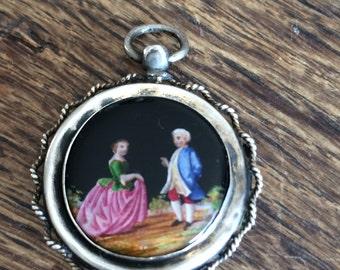 beautiful antique hand-painted enamel photo pendant around 1900