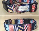 "Handmade Multi Nautical 1"" Adjustable Dog Collar - LARGE"