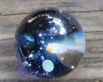 Big Shooting Star Space and Planets Marble - Galaxy in Flameworked Glass