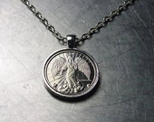 GUARDIAN ANGEL NECKLACE Pendant Angel Coin Token Vintage Silver Brass Copper Nickel