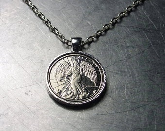 GUARDIAN ANGEL NECKLACE Pendant Angel Coin Token Vintage Silver Brass Copper Nickel