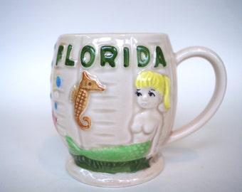 Vintage Kitsch Mug Souvenir of Florida with Mermaid and Seahorse Ceramic