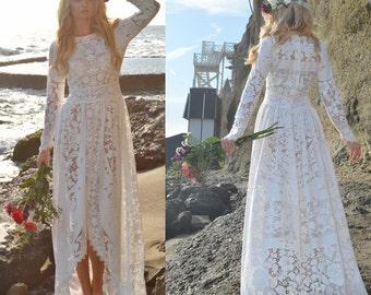 Lace Victorian Edwardian Fishtail Hippie boho Festival Hi-Low Non-Traditional Garden White Saldana Vintage Wedding Dress