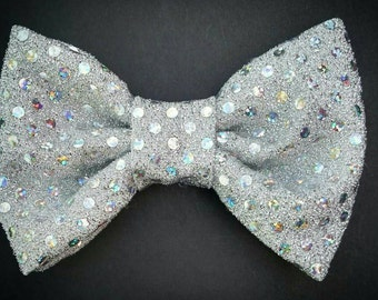Light Silver Sequined Large Bow