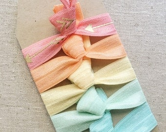 Vintage Summer Arrows - Set of 5 Elastic Hair Ties