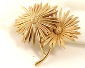 Vintage Designer Signed Crown Trifari Brooch - Daisy Duo - 1960s - Statement Piece