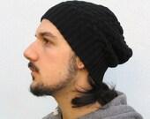 Men's Slouchy Beanie, Men's Knitted Hat, Upcycled Cashmere, Upcycled Wool, Slouchy Hat, Hand Knit Hat for Men, Black hat