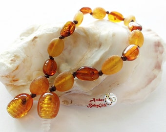 Bean Mix Baltic Amber Teething Bracelet / Anklet - Raw & Polish Cognac Amber Beads - Screw or Safety clasp - Choose Your Length, AP-28