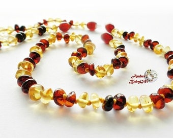 """SALE->Set of Baltic Amber Teething Necklace 12.5""""-13.0"""" and Anklet/Bracelet 5.5""""- 5.9""""- Honey and Cherry Amber Beads - Screw clasp, 1R"""