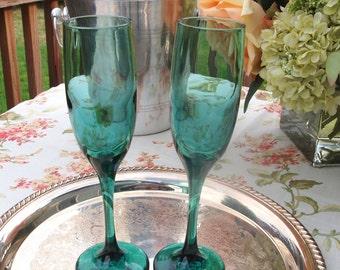 Vintage Champagne Flutes | Green Toasting Flutes Pair | Bride and Groom Toasting Glasses Wedding Toast