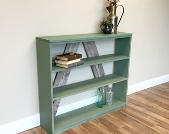 Rustic Bookshelf, Wooden Book Stand, 3 Shelf Bookcase, Shabby Chic Bookcase, Storage Shelf, Painted Bookshelf