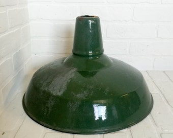 Industrial Metal Light Cover Green Porcelain Barn Indusrial Gas Station Lamp Shade