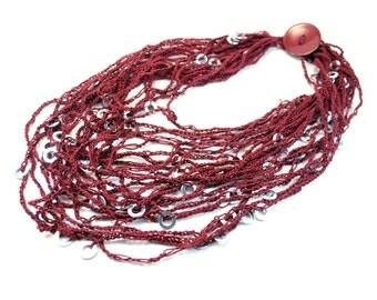 Knit Statement Necklace. Crochet Necklace. Multi Strand Necklace. Burgundy Statement Necklace. Knitted and crochet necklace. Necklace Scarf.