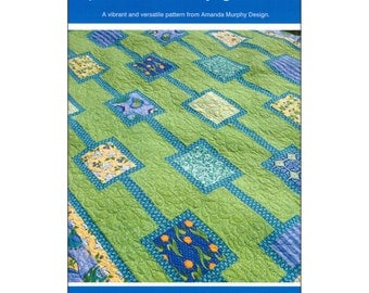 "Quilt Pattern, Amanda Murphy Design, Portraits of My Garden, 69-1/2"" X 90"", Twin Bed Paper Pattern, Sewing Supply"