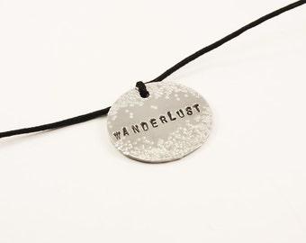 Handmade Adjustable Necklace with Aluminium Medallion, Wanderlust