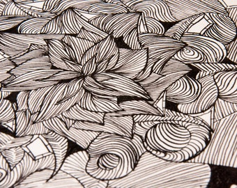 Handmade drawing, botanical drawing, botanical art, hand drawn pattern, hand drawn sketch, original drawing, Line Drawing, Abstract Flowers