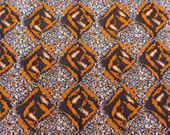 2 + Yards Psychedelic Orange and Brown Double Knit Stretch Polyester Vintage Graphic Swirl Fabric Medium Heavy Weight