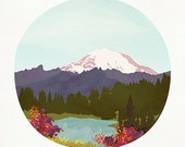 "Printable Art - LOW INCOME EARNERS - ""Mountain"" Print, Mt Rainier, Lake, Wanderlust Wall Art"