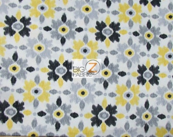 100% Cotton Fabric By Benartex Fabrics - Cosmopolitan Artistic Flowers Yellow/Black - Sold By The Yard (FH-2089)