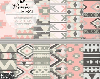 PINK TRIBAL digital paper. Aztec patterns in pink and brown. Wedding aztec, tribal digital background.