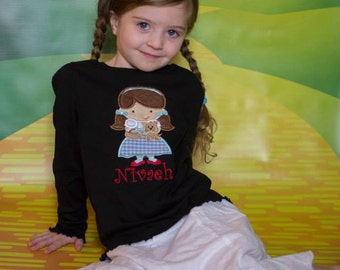 Dorothy Doll Embroidered Shirt, Wizard Of Oz, Girls Shirt, Toto Dog, Ruby Slippers, Customized, Personalized, Dorothy And Toto, Girls, Dog