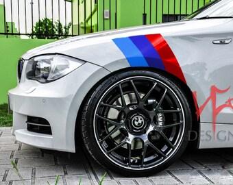 BMW M SERIES Fender Hash 3 Racing Stripe 2 Sets Vinyl Decal War Paint Nickos Designz