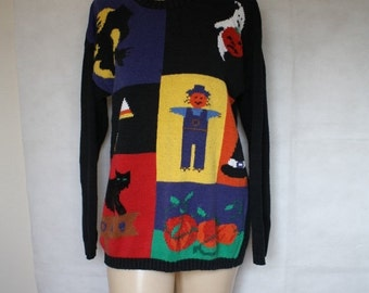 Sale Halloween Sweater / 1980's Sweater / Vintage Halloween /  Black Cat Sweater / Candy Corn Sweater M/L