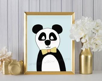 Panda with Bow Tie Art Print (2AOWD11a)  Panda with Bow Tie Art yellow bow tie blue background PANDA art Print, Home, Dorm, Kids Room Art
