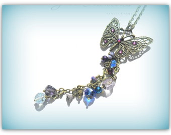 Butterfly Charm Necklace Purple Blue Indigo Bronze Butterfly Necklace Mystical Butterfly Necklace Long Chain Necklace Summer Jewelry