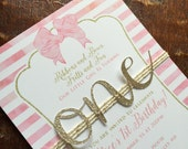 First birthday invitation | 1st Birthday invite | Baby girl invitation | Ribbons Bows first | Pink & Gold party | Gold glitter One invite |