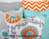 THROW PILLOWS Orange Chevron Aqua Blue Turquoise Decorative Throw Pillows 16x16 18 20 .All SIZES. Sale. Gray Pillows Home Decor