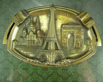 Art deco Paris Ashtray Vintage brass Souvenir French tobacco accessory France Eiffel Tower signed L.L.