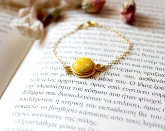 Yellow Dot Bracelet, Polka Dot Bracelet, Fabric Button Jewelry, Button Charm Bracelet, Dainty Fabric Bracelet, Dainty Gold Bracelet