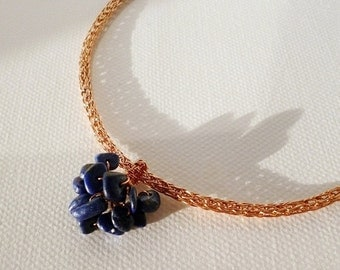 ON SALE Viking knit necklace - lapis lazuli necklace - handmade copper jewelry - Grapes pendant