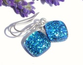 Square Drop Earrings - Turquoise Blue Dichroic Glass Dangle Earrings on 925 Sterling Silver Earwires - Fused Glass Jewelry