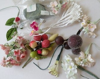 Vtg Millinery Flowers and Fruit