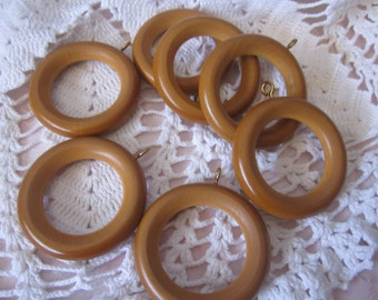 7 Wooden Curtain Rings Drapery Upcycle Vintage Shabby Chic Wood decorating Screw Eyes