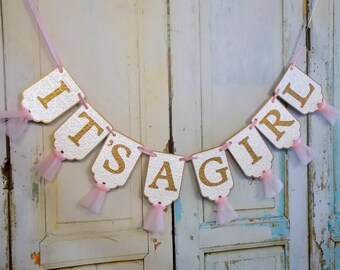 It's A Girl Banner, Embossed Cream Pink and Gold Banner with Tulle, Baby Shower Banner, Baby Girl Banner, Girl Baby Shower Decoration