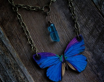 Butterfly / aqua aura crystal quartz necklace
