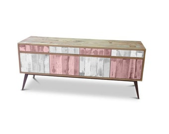 Retro Modern Mid Century Industrial Recycled Shabby Chic Country Farmhouse Sideboard / Buffet / Entertainment Unit in Checkered Pink & White