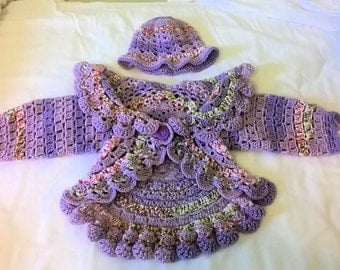 Toddler's Crochet Lilac Baby Blossoms Circle Jacket and matching hat