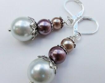Pearl Jewelry, Pearl Earrings, Three Pearl Earrings, Wedding Earrngs, Bridal Earrings, Silver