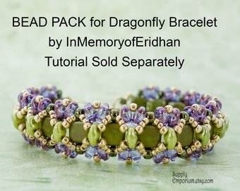Purple and Olive Dragonfly Bracelet BEAD PACK BB5, for InMemoryofEridhan Tutorial, Sold Separately