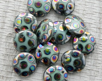 12mm Turquoise Picasso Lentil - Top Drilled Hole Czech Glass Beads - 12 beads - 567