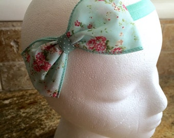 Aqua Floral Print Large Girls/Women Fabric Hair Bow Headband, Baby Girl Hair Bow, Women Hair Bow, Girls Hair Bow Headband, Toddler Girl Bow