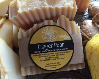 GINGER PEAR-SOAP-Fruity-Sweet-Sensational Treat-Silky Smooth and Bubbly-Natural Ground Ginger-