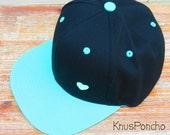 Black & Mint Bill - Vintage old school style - Hand printed heart snap-back hat - Modern - for women
